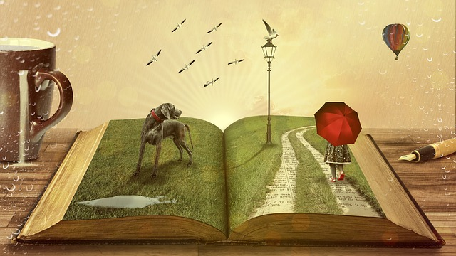 Open book with a woman walking and a dog standing on its pages